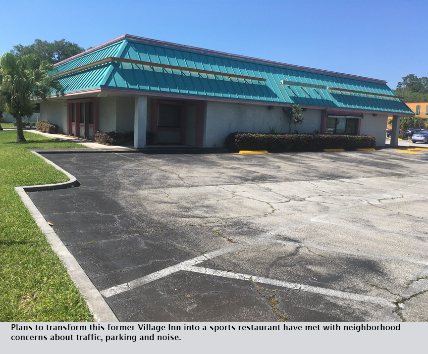 Plans to transform this former Village Inn into a sports restaurant have met with neighborhood concerns about traffic, parking and noise.