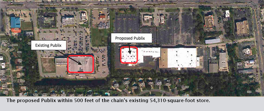 The proposed Publix within 500 feet of the chain's existing 54,310-square-foot store.