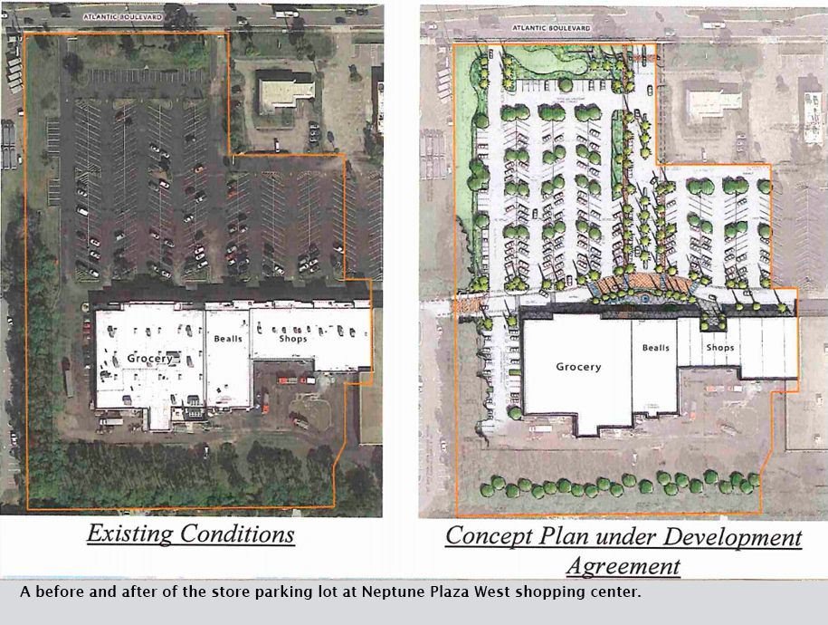 A before and after of the store parking lot at Neptune Plaza West shopping center.