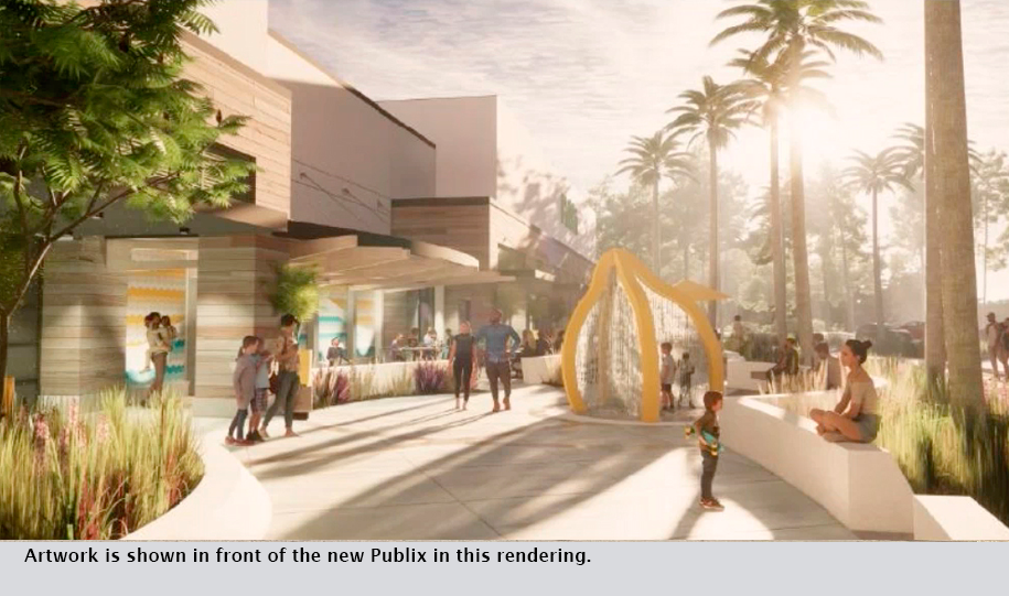 Artwork is shown in front of the new Publix in this rendering.