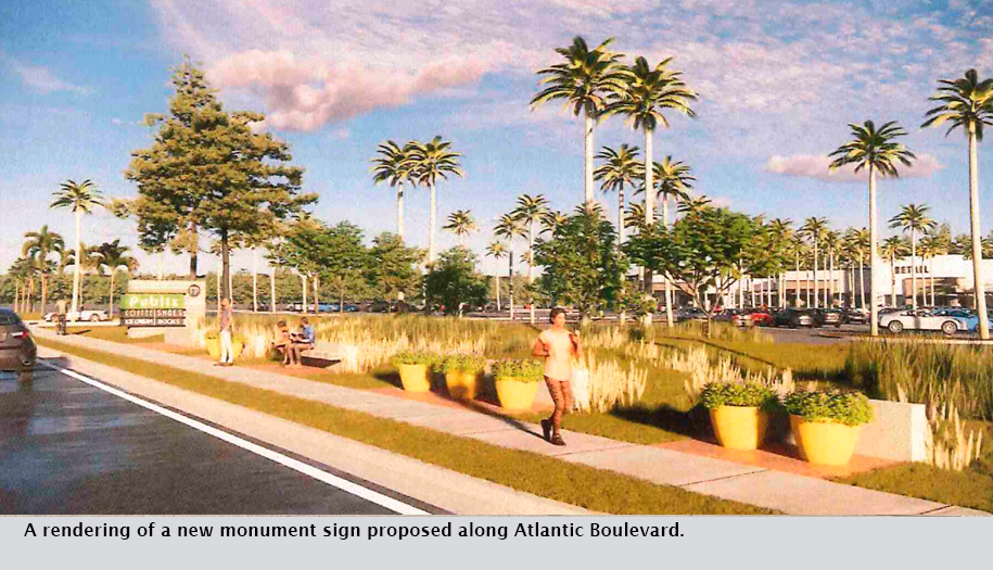 A rendering of a new monument sign proposed along Atlantic Boulevard.