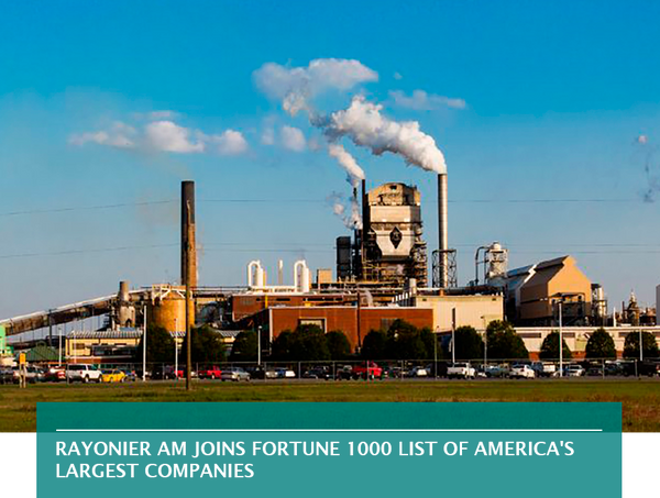 Rayonier AM joins Fortune 1000 list of America's largest companies