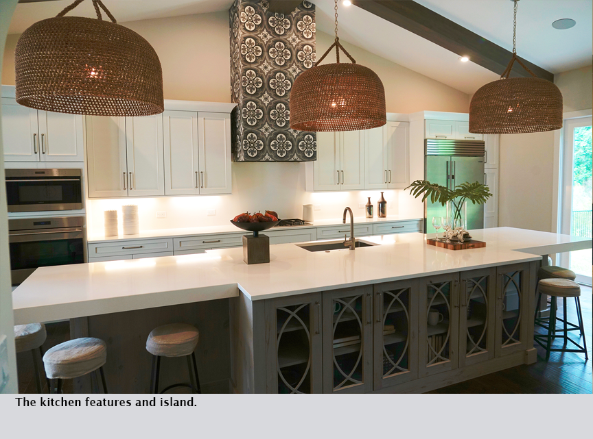 The kitchen features and island.