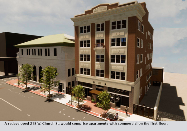 A redeveloped 218 W. Church St. would comprise apartments with commercial on the first floor.