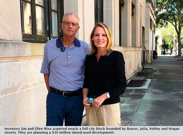 Investors Jim and Ellen Wiss acquired nearly a full city block bounded by Beaver, Julia, Ashley and Hogan streets. They are planning a $30 million mixed-used development.