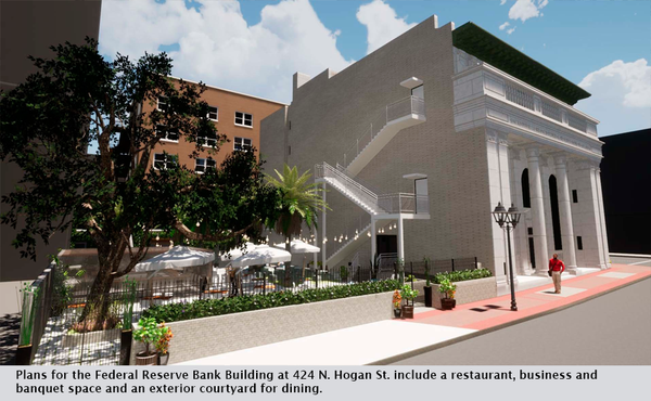 Plans for the Federal Reserve Bank Building at 424 N. Hogan St. include a restaurant, business and banquet space and an exterior courtyard for dining.