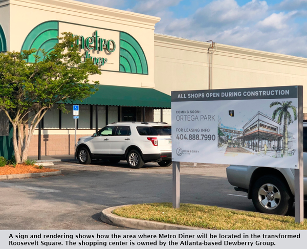 A sign and rendering shows how the area where Metro Diner will be located in the transformed Roosevelt Square. The shopping center is owned by the Atlanta-based Dewberry Group.