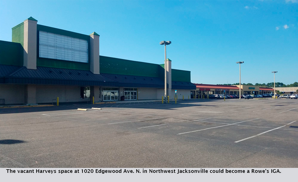 The vacant Harveys space at 1020 Edgewood Ave. N. in Northwest Jacksonville could become a Rowe's IGA.