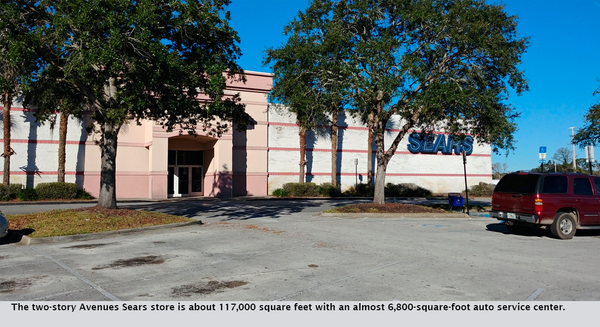 The two-story Avenues Sears store is about 117,000 square feet with an almost 6,800-square-foot auto service center.