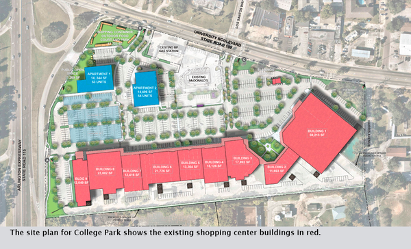 The site plan for College Park shows the existing shopping center buildings in red.
