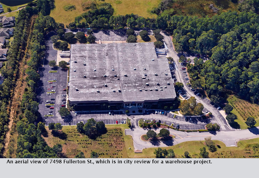An aerial view of 7498 Fullerton St., which is in city review for a warehouse project.