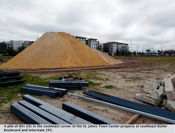 A pile of dirt sits in the southeast corner of the St. Johns Town Center property at southeast Butler Boulevard and Interstate 295.