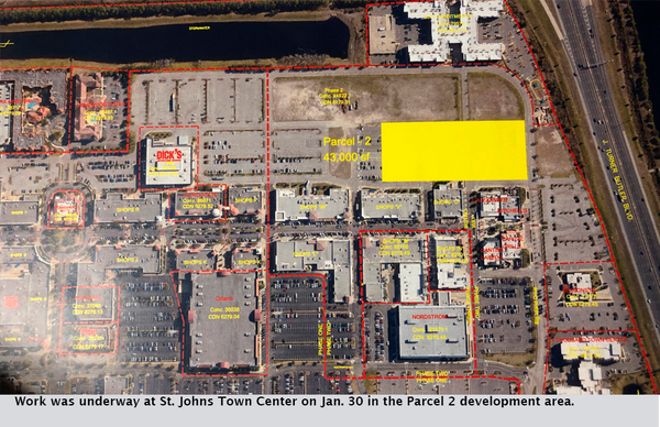 Work was underway at St. Johns Town Center on Jan. 30 in the Parcel 2 development area.