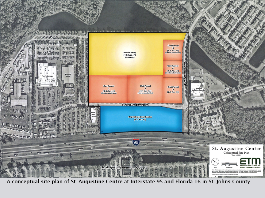 A conceptual site plan of St. Augustine Centre at Interstate 95 and Florida 16 in St. Johns County.