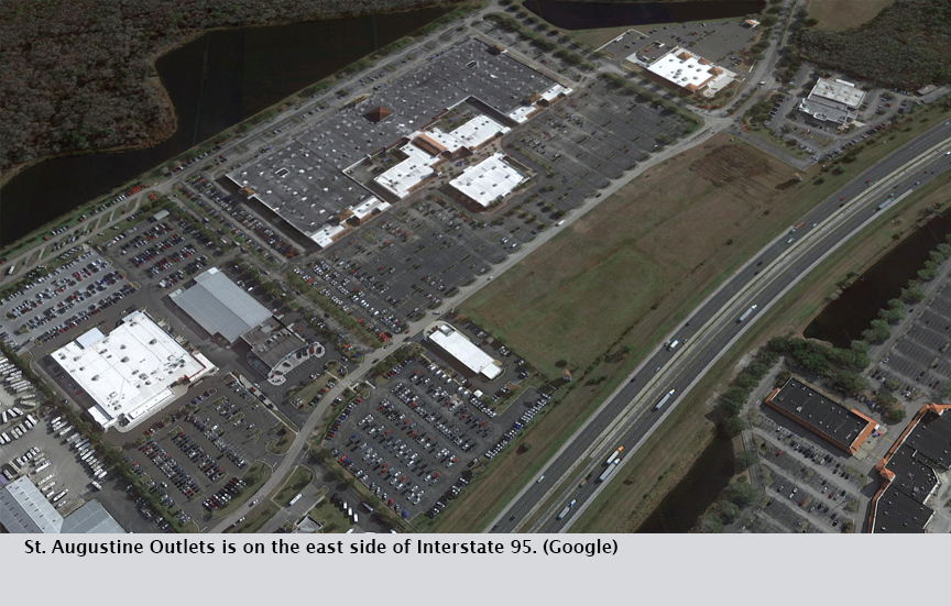 St. Augustine Outlets is on the east side of Interstate 95. (Google)