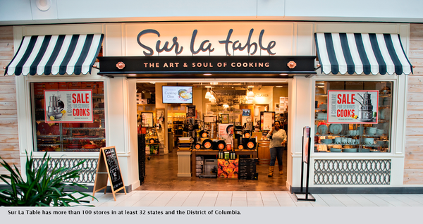 Sur La Table has more than 100 stores in at least 32 states and the District of Columbia.
