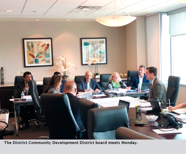 The District Community Development District board meets Monday.
