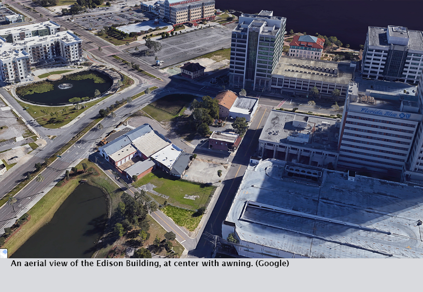 An aerial view of the Edison Building, at center with awning. (Google)