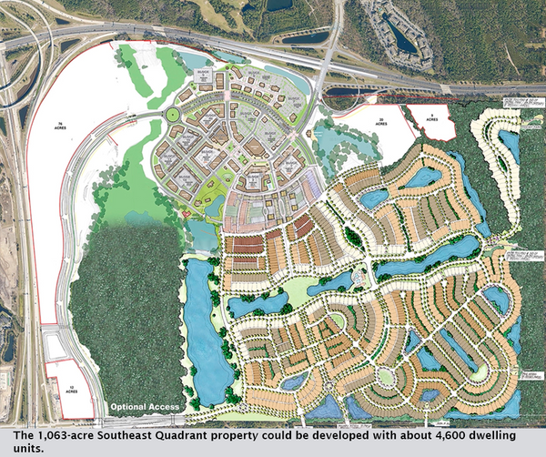 The 1,063-acre Southeast Quadrant property could be developed with about 4,600 dwelling units.
