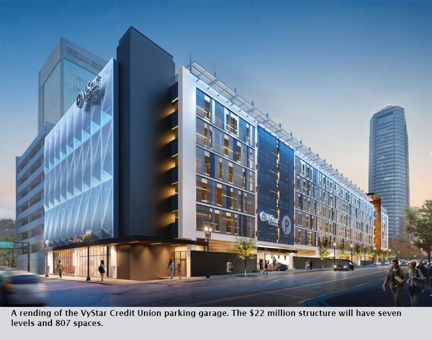 A rending of the VyStar Credit Union parking garage. The $22 million structure will have seven levels and 807 spaces.