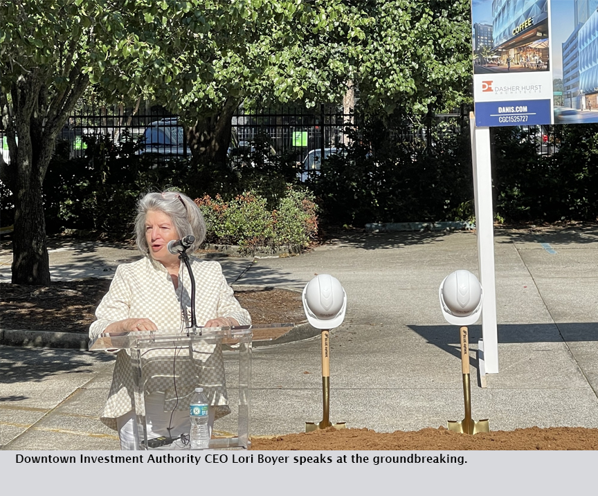 Downtown Investment Authority CEO Lori Boyer speaks at the groundbreaking.