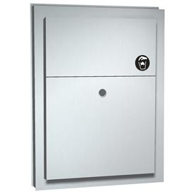 "ASI® Dual Access Sanitary Napkin Disposal, Partition Mounted, Stainless Steel, 17 1/4""H x 4""W x 13""D"