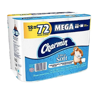 Charmin Ultra Soft Mega 2-Ply Standard Toilet Paper, White, 284 Sheets/Roll, 18 Rolls/Pack (99862) ***Backordered until April 15th***