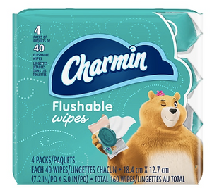 Charmin Flushable Wipes, White, 40 Sheets/Pack, Pack of 4 (79619) ***Backordered until April 25th***
