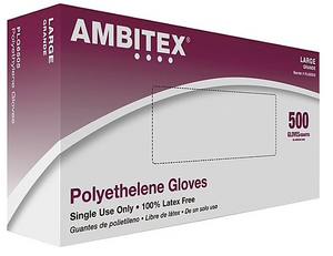 Ambitex Poly Food Service Gloves, Large, 1.25 ml, 500/Box