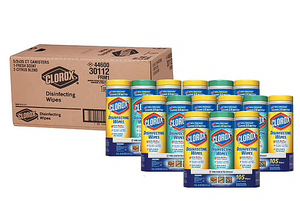 15 Canisters Clorox Wipes Value Pack, 7 x 8, Fresh Scent/Citrus Blend