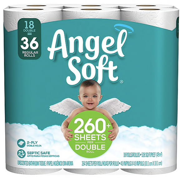 Angel Soft Toilet Paper, 2-Ply, White, 264 Sheets/Roll, 18 Double Rolls/Pack