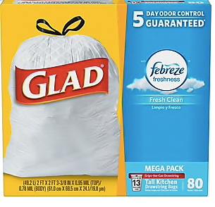 Glad OdorShield Tall Kitchen Drawstring Trash Bags - Fresh Clean - 13 Gallon - 80 Count