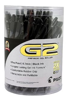Pilot G2 Premium Retractable Gel Roller Pens, Fine Point, Black, 36/Pack