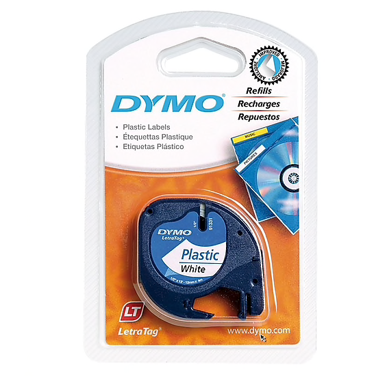 DYMO 91331 1/2-Inch Label Tape for LetraTag Labelers, White