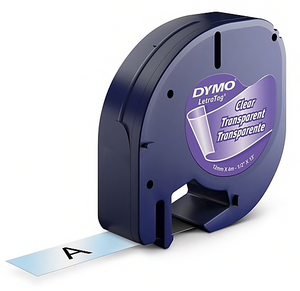 "Dymo® LetraTag Series Label Tape, 1/2"" x 13', Black on Clear"