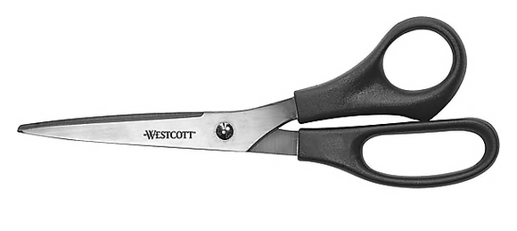 Westcott® All Purpose Value Shears Straight Scissors, Black, 8