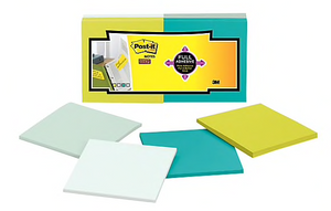 "Post-it® Super Sticky Full Adhesive Notes, 3"" x 3"" Bora Bora Collection, 25 Sheets/Pad, 12 Pads/Pack"