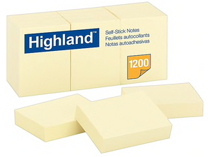 "Highland™ Notes, Original Pad, 3"" x 3"", Yellow, 12/Pk"