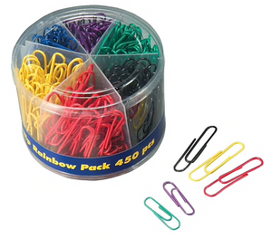 Plastic Coated Paper Clips, No. 2 Size, Assorted Colors, 450/Pack