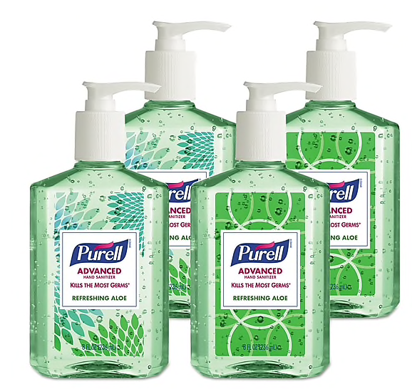 PURELL Advanced Instant Hand Sanitizer With Aloe, 8 Oz Bottle, 4/pack