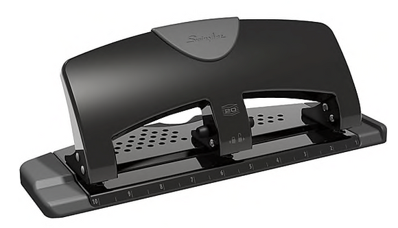 Swingline® SmartTouch™ Low Force 3-Hole Punch, 20 Sheet Capacity, Black/Gray (A7074133)