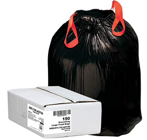 "Webster Industries® Draw 'N Tie Can Liners®, 33 Gallon, 1.2 mil., Black, 33"" x 40"", 150/Ct"