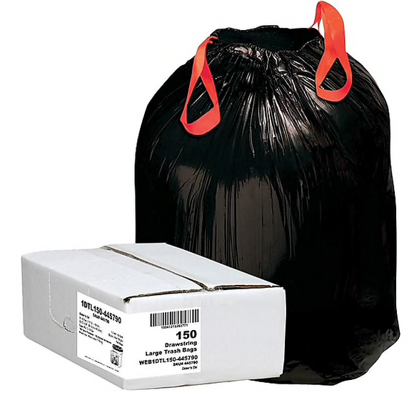 Webster Industries® Draw 'N Tie Can Liners®, 33 Gallon, 1.2 mil., Black, 33