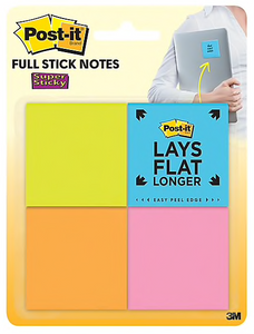 "Post-it® Super Sticky Full Adhesive Notes, 2"" x 2"" Rio De Janeiro Collection, 25 Sheets/Pad, 8 Pads/Pack (F220-8SSAU)"