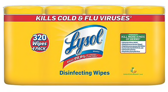80 Wipes/Canister, 4/Pack,Lysol® Disinfecting Wipes, Lemon & Lime Blossom® Scent