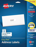 "Avery Easy Peel White Address Labels, Sure Feed Technology, Inkjet, Permanent, 1"" x 2-5/8"", 750 Labels (8160)"