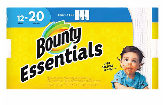Bounty Essentials Select-A-Size Paper Towels, 2-Ply, 104 Sheets/Roll, 12 Rolls/Pack ***Backordered until: Monday, Apr 13*** (74647)