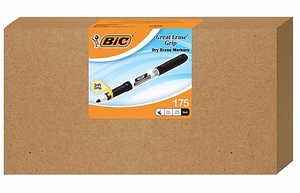 BIC Great Erase Grip Fine Point Dry Erase Marker, Black, 175/Carton (GDE175-BLK)