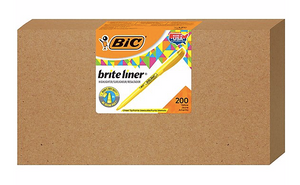 BIC Brite Liner Pocket Highlighter, Chisel, Yellow, 200/Count (BL200-YEL)