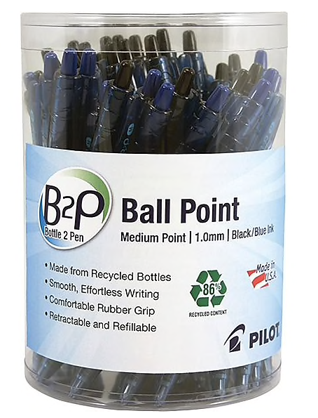 Pilot B2P Bottle-2-Pen Retractable Ball Point Pens, Medium Point, Black/Blue, 36/Pack (57050)